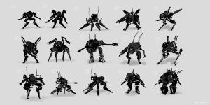 CoffeePainting: Mecha thumbnail sketches by MacRebisz
