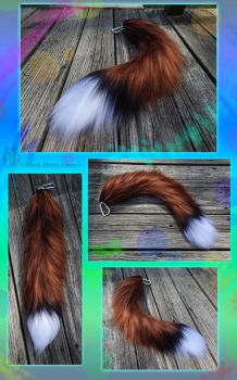 25in Realistic Red Fox Yarn Tail - SOLD! by Black-Heart-Always