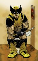 Wolverine on the potty colors by ArtisticSchmidt