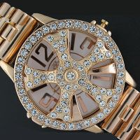24k Gold plated Diamond studded Spinner Watch by MarcusMcCloud100