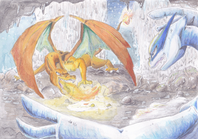Charizard vs. Lugia by PitchBlackEspresso