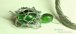 Steel Knitted Turtle Pendant by pecatrix