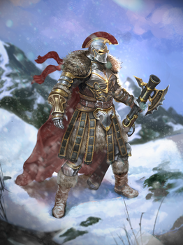 Warrior on snowed mountain by Louie-Oh