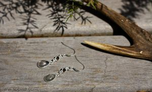 Silver earrings with labradorite and smokey quartz by Sopisa-jewelry