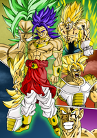 Broly vs saiyans color by bloodsplach by ChibiDamZ