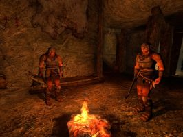 2 orcs relaxing next to fire by TorturerWraithSpy