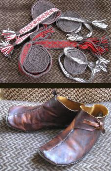 tablet weaving and boots by Hellanim