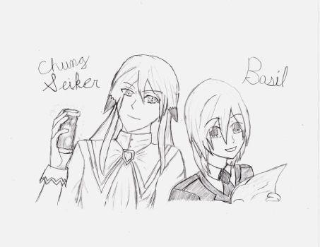 Chung and Basil by digibrowser1