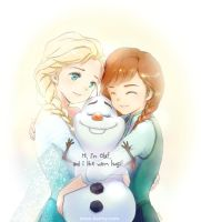 Frozen- Elsa, Anna and Happy Olaf by Snonfield