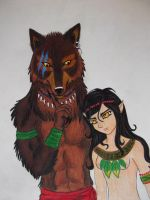 brown werewolf and his girlfri by LuarSoulwolf