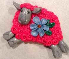 Sheep. Magnet. Symbol of 2015 by Craft-NSY