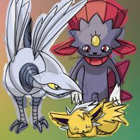 Jolteon, Weavile, and Skarmory by skeletall