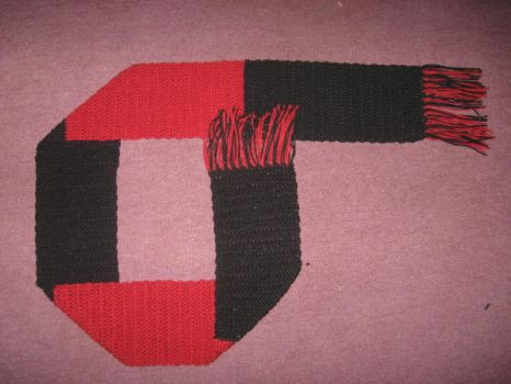 Red And Black Striped Scarf by wombatboi