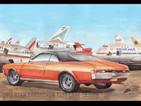 68 AMC Javelin In The Airplane Graveyard by FastLaneIllustration