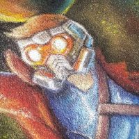 Starlord close up chalk art by charfade