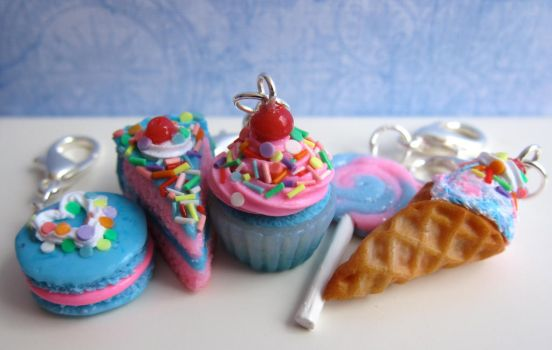 Bright Blue and Pink Food Charms by LittleSweetDreams
