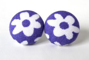 Purple stud earrings by KooKooCraft