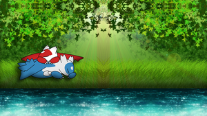Latios and Latias - Sleeping by the River by Capioco