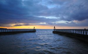 Twin Piers at Whitby by kharashov