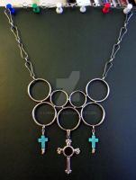 Celtic Cross Chainmail Steampunk Necklace by LyraAlluse