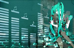 Miku's music wallpaper by Mitche27