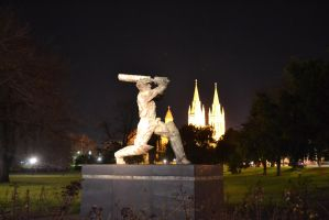 adelaide cathedral and sir donald bradman by Kargroth