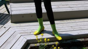Yellow 9 W Loafers, Chartreuse Socks, Black Tights by peerlesspenny