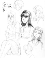 Sketchdump #4 - 60s people by BellaCielo