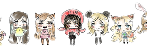 A bunch of crazy friends : chibi-us. by Pinkystarpinky