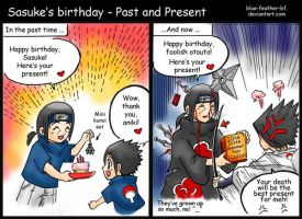 Sasuke bday:Past and Present by Blue-Feather-BF