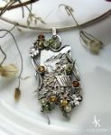 Silver pendant Autumn at a mountain watermill by JSjewelry
