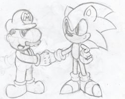 Mario and Sonic Shaking Hands (Sketch) by Sonicdude645