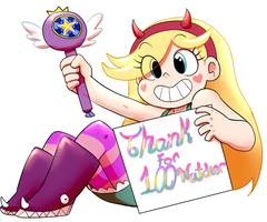 Star's Thank 100 watcher by AngeliccMadness