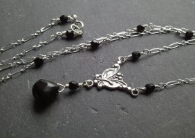 Victorian Black Onyx and Czech Glass Necklace by QuintessentialArts