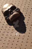 Gold Resin Two-Eye Skull Button by Phantomoshop by Phantomoshop