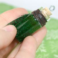 Green Sparkle Bottle Pendant by GeneveveX