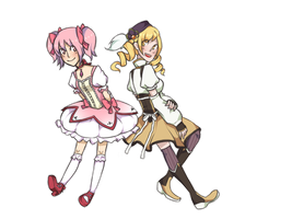 Madoka and Mami by Dragoncookie