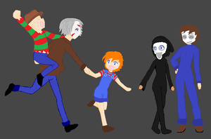 Freddy, Jason, Chucky, Ghostface and Michael by MiaMeow14