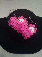 Perler Heart Earrings by FallenAngelKrisi