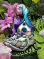 Polymer Clay Miniature Pixie Cottage by missfinearts