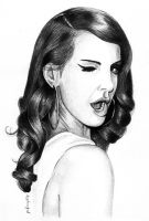 Lana Del Rey Pencil Drawing by petrosptrs
