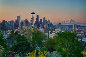 Seattle and Mount Rainier at Sunrise by arnaudperret