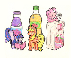 My Little Pony - Mane Six Drinks (1/2) by LazingAbout94