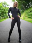 black zentai catsuit girl by daliabo