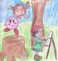 painting kirby by fontainekia