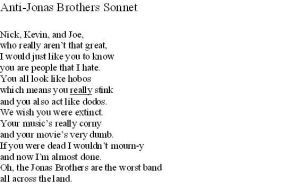 Anti-Jonas Brothers Sonnet by PenguinandJohnnyFan