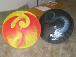Dragon and Phoenix parasols by randomanonym