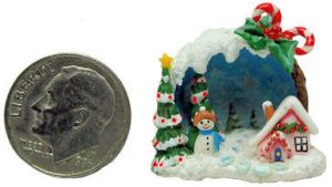 FAIRY HOUSE COTTAGE SNOWMAN CHRISTMAS TREE DIORAMA by WEE-OOAK-MINIATURES