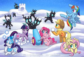 Mane Six vs The Changeling Army: Winter Edition by OEmilyThePenguinO