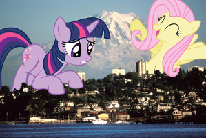 Giant Twilight and Fluttershy in Tacoma, WA by FlutterbatIsMagic